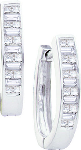 14kt W.G. Baguette and Princess Diamond Hoop Earrings 0.50ct TW