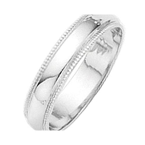4mm Platinum Milgrain Half Round Wedding Band