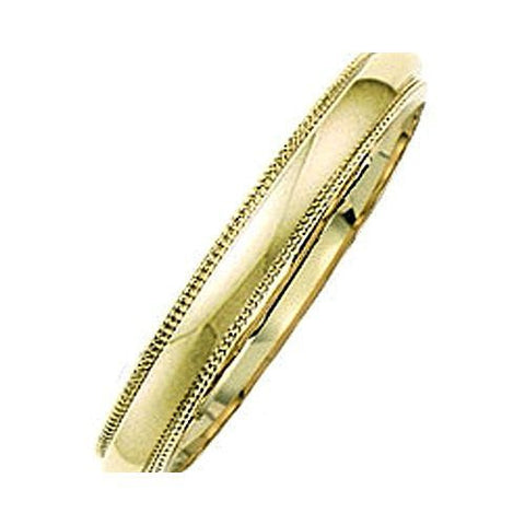 14kt Yellow Gold Milgrain Comfort Fit Wedding Band 3MM