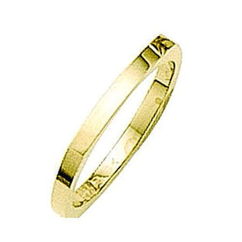 14kt Yellow Gold 4 Sided Wedding Band 2MM