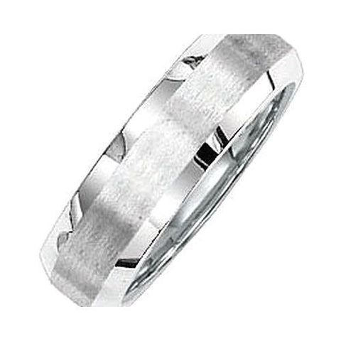 14kt White Gold 6mm Comfort Fit Beveled Wedding Band