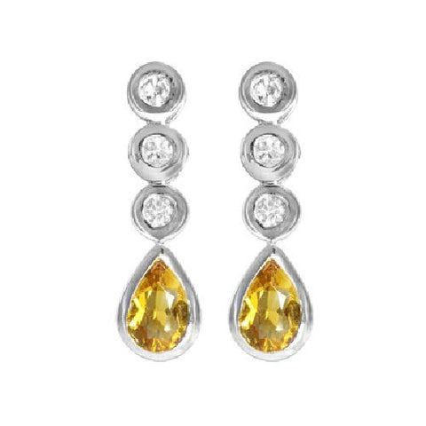 Palmeria Citrine and White Topaz Sterling Silver Drop Earrings