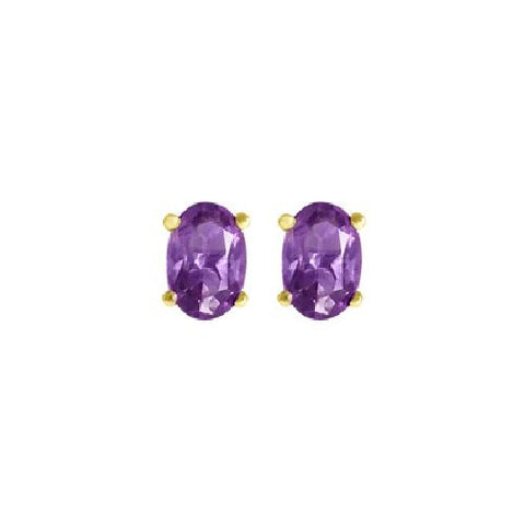 Sterling Silver/Vermeil Amethyst Stud Earrings 0.80ct TW