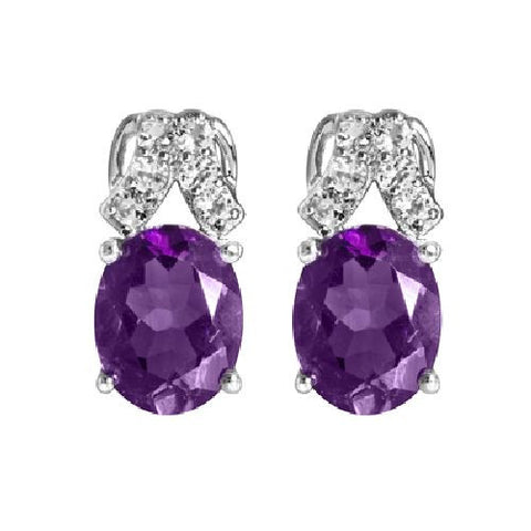 Sterling Silver Earrings with Amethyst and White Topaz 3.45ct TW