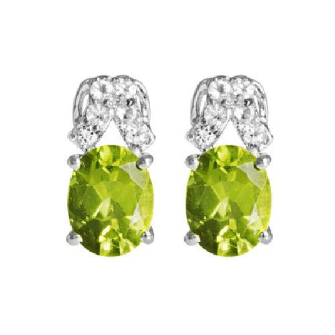 Peridot and White Topaz Sterling Silver Earrings 3.70ct TW