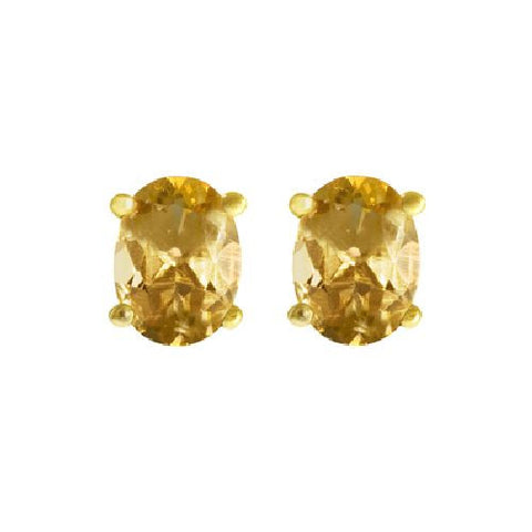 Citrine Sterling Silver/Vermeil Stud Earrings 2.10ct TW
