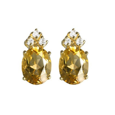 Citrine and White Topaz Sterling Silver/Vermeil Stud Earrings