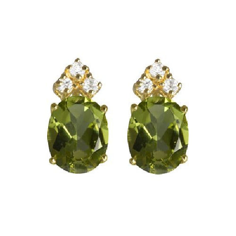 Peridot and White Topaz Sterling Silver/Vermeil Stud Earrings