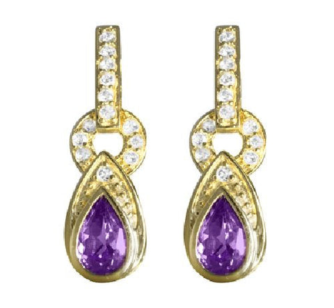 Sterling Silver/Vermeil Amethyst and White Topaz Dangle Earrings