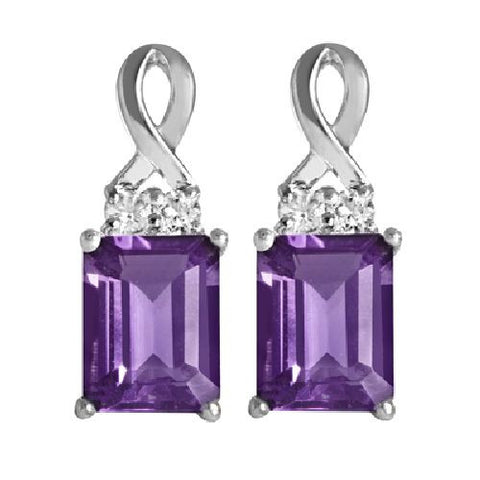 Sterling Silver Earrings with African Amethyst and White Topaz