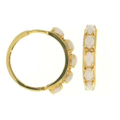 14k Yellow Gold Lavender Jade Hoop Earrings