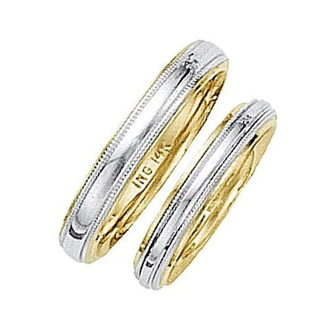 14kt Two Tone 4mm Milgrain Comfort Fit Wedding Band