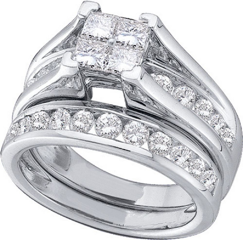 1.00 ct Diamond Invisible Set Bridal Ring Set in 14kt White Gold