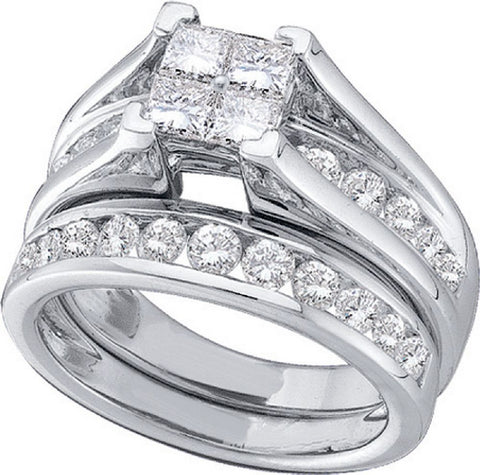 1 ct Diamond Invisible Set Bridal Ring Set in 14kt White Gold