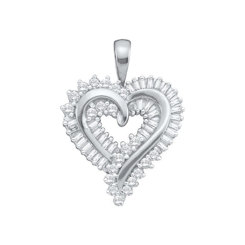 14kt W.G. Round and Baguette Heart Diamond Pendant 1.00ct