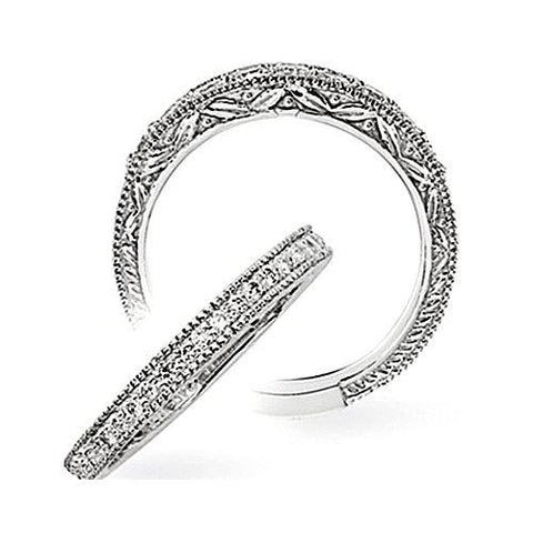 14kt White Gold  Filigree Diamond Wedding Band 0.17ct TW