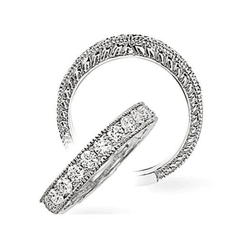 14kt White Gold  Filigree Diamond Wedding Band 0.63ct TW