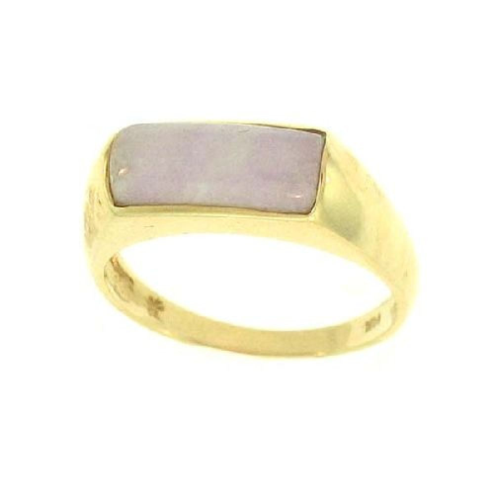 14k Yellow Gold  Natural Lavender Saddle Jade Ring