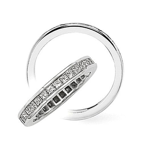 14kt Gold Channel Set Princess Diamond Wedding Band 3.15ct TW