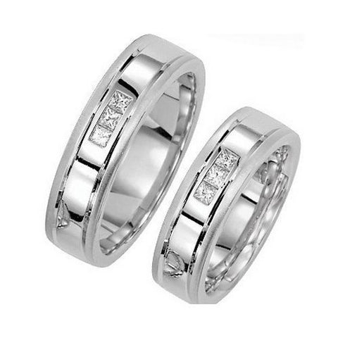 Platinum 6mm Grooved Diamond Wedding Band 0.15ct TW