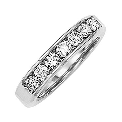 14kt White Gold Channel Diamond Wedding Band 0.90ct TW