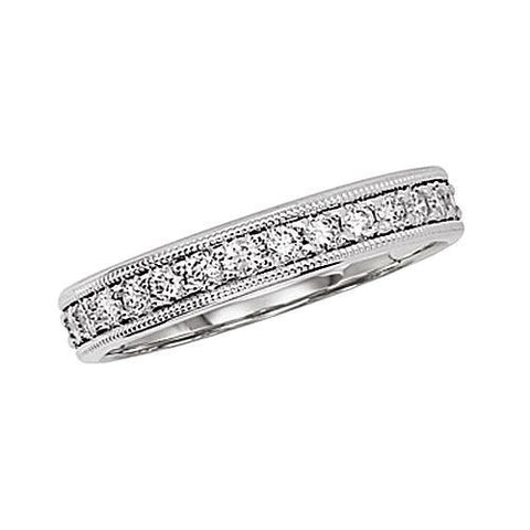 14kt White Gold 4MM Wide Diamond Wedding Band 0.75ct TW