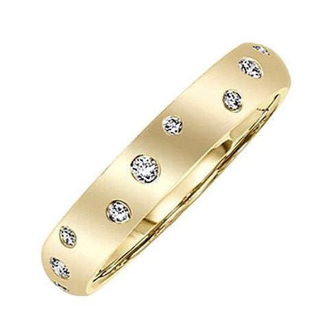 14kt Gold 4MM Wide Burnished Diamond Wedding Band 0.27ct TW
