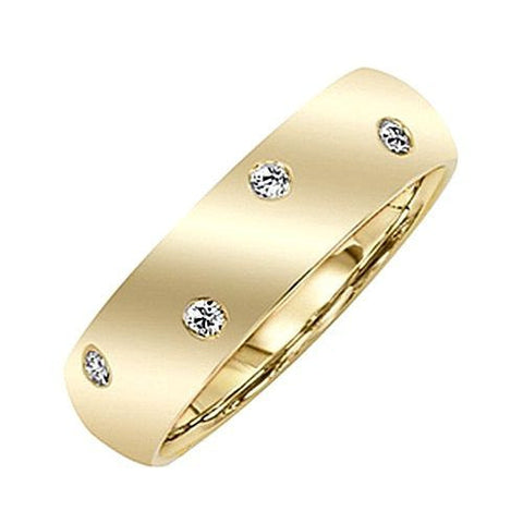 14kt Gold 6MM Wide Burnished Diamond Wedding Band 0.25ct TW