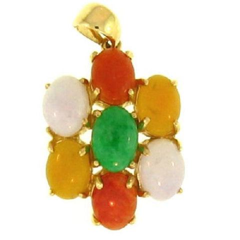 14k Yellow Gold Multi Color 7 Stone Jade Pendant