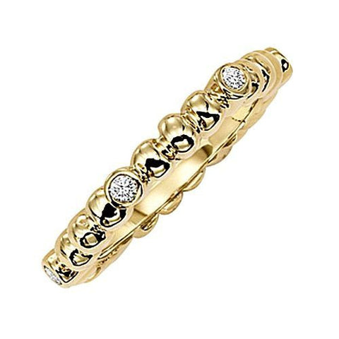 14kt Yellow Gold Diamond Stack Ring 0.18ct TW