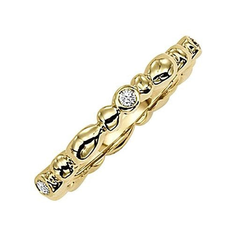 14kt Yellow Gold Diamond Stack Ring 0.13ct TW