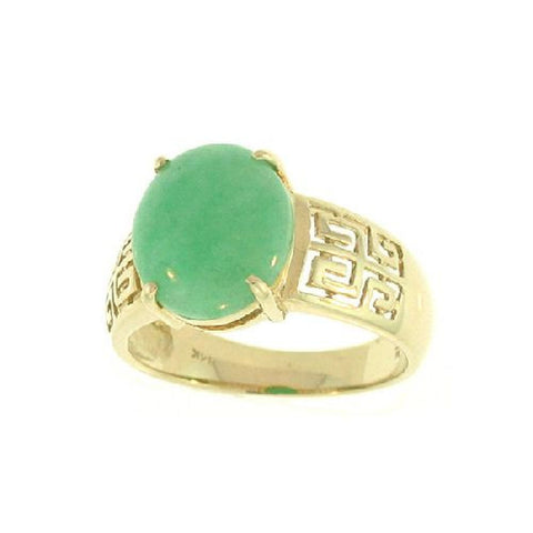 14k Gold Oval Green Natural Jade Ring