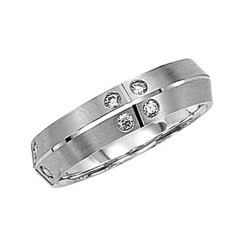 14kt Gold 5.75mm Burnished Diamond Wedding Band 0.48ct TW