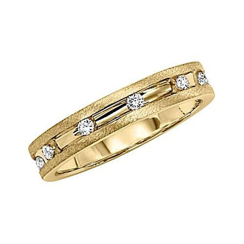 14kt Gold 4mm Channeled Satin Diamond Wedding Band 0.30ct TW