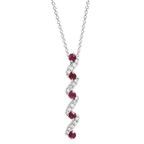 Ruby and White Topaz Sterling Silver Journey Pendant