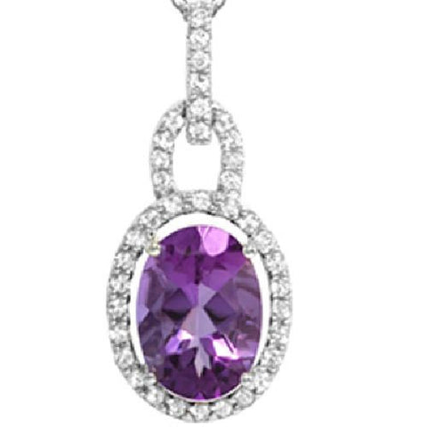 Bolivian Amethyst and White Topaz Silver Pendant. 5.85ct TW
