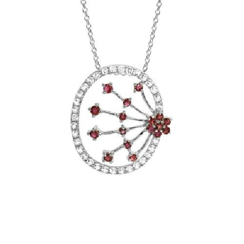 Ruby and White Topaz Oval Spray Sterling Silver Pendant