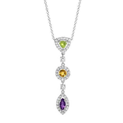 Amethyst, Citrine and Peridot Dangling Sterling Silver Pendant