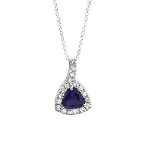 Dark Blue Iolite and White Topaz Sterling Silver Pendant