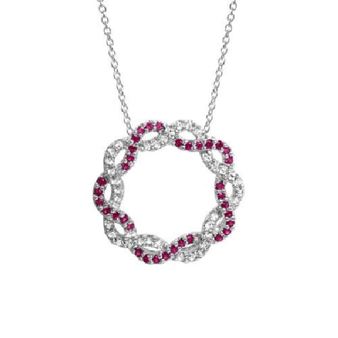 Ruby and White Topaz Intertwined Circle Silver Pendant