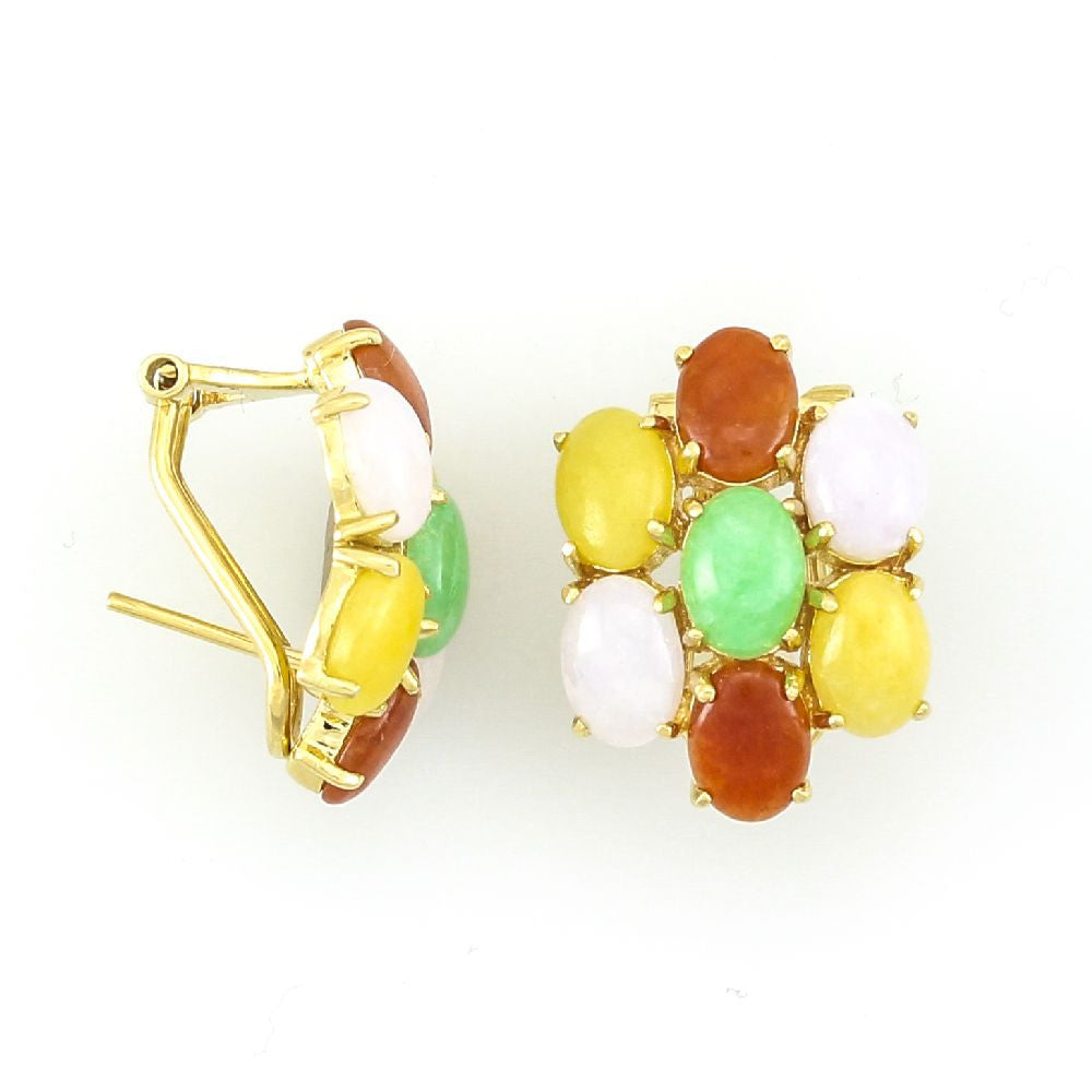 14k Yellow Gold Multi Color Oval Jade in Clip and Post Earrings