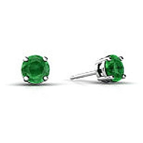 14kt White Gold 4MM Round Emerald Stud Earrings AA