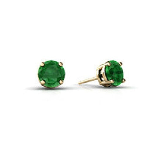 14kt White Gold 4MM Round Emerald Stud Earrings A