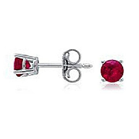 14kt White Gold 4MM Round Ruby Stud Earrings AA