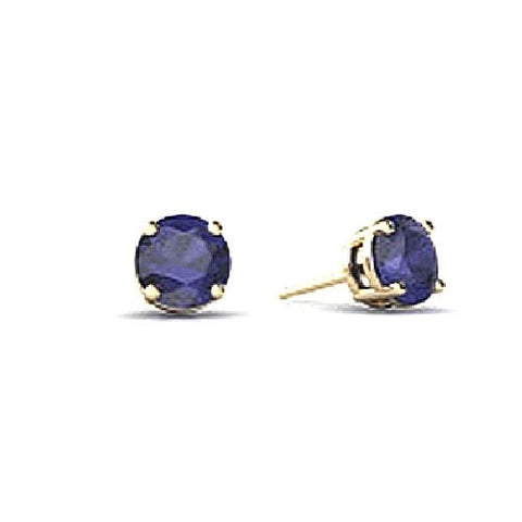 14kt White Gold 4MM Round Blue Sapphire Stud Earrings AA