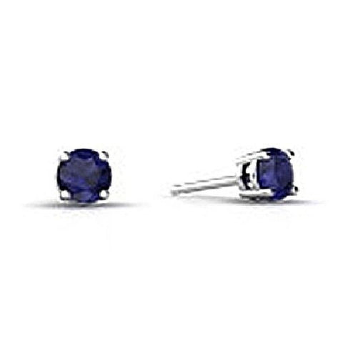 14kt White Gold 4MM Round Blue Sapphire Stud Earrings A