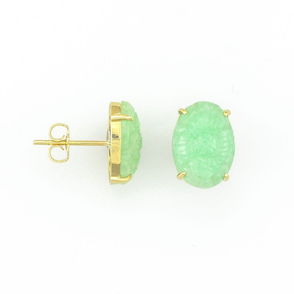 14k Yellow Gold Oval Carved Green Jade Earrings