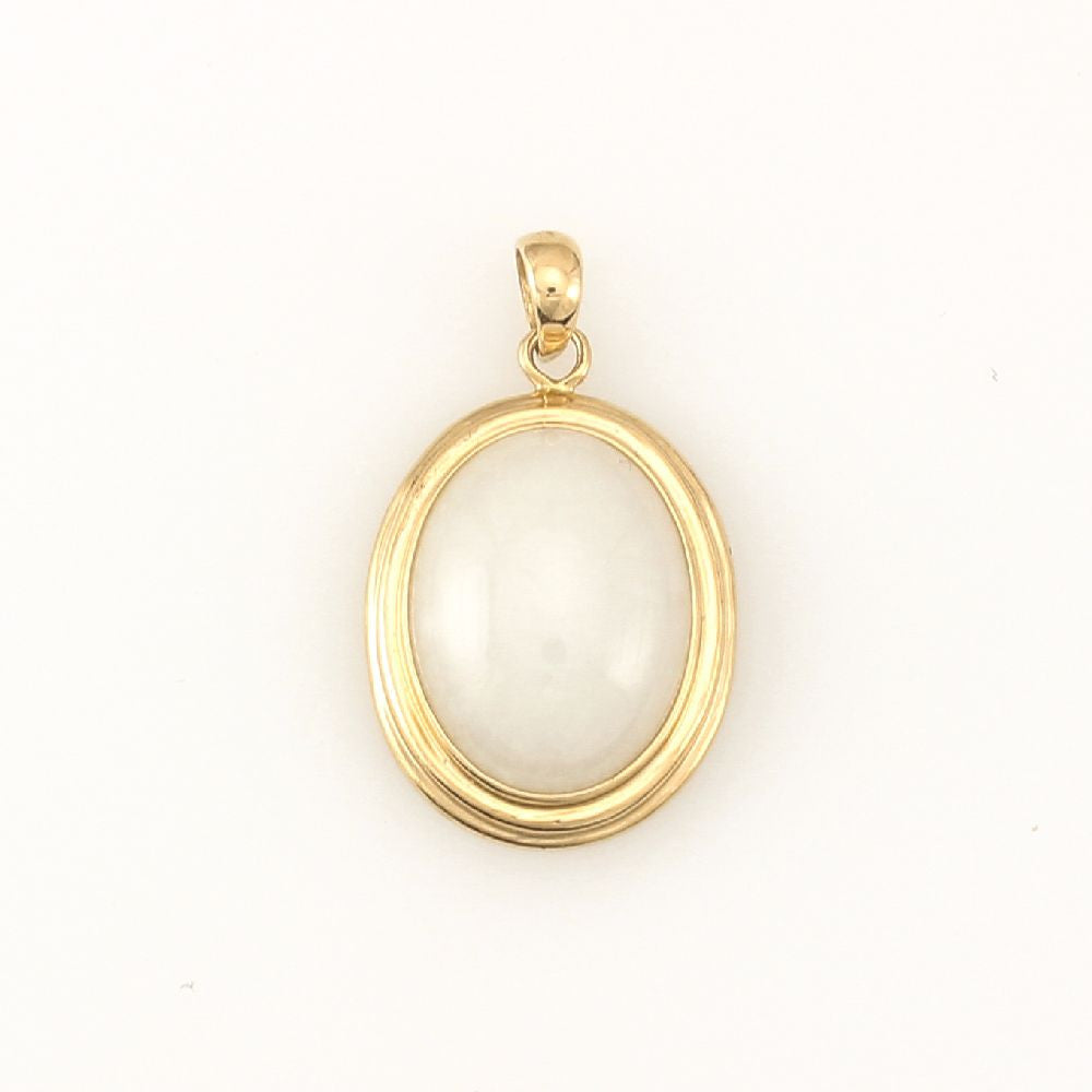 14k Yellow Gold Oval White Jade Pendant