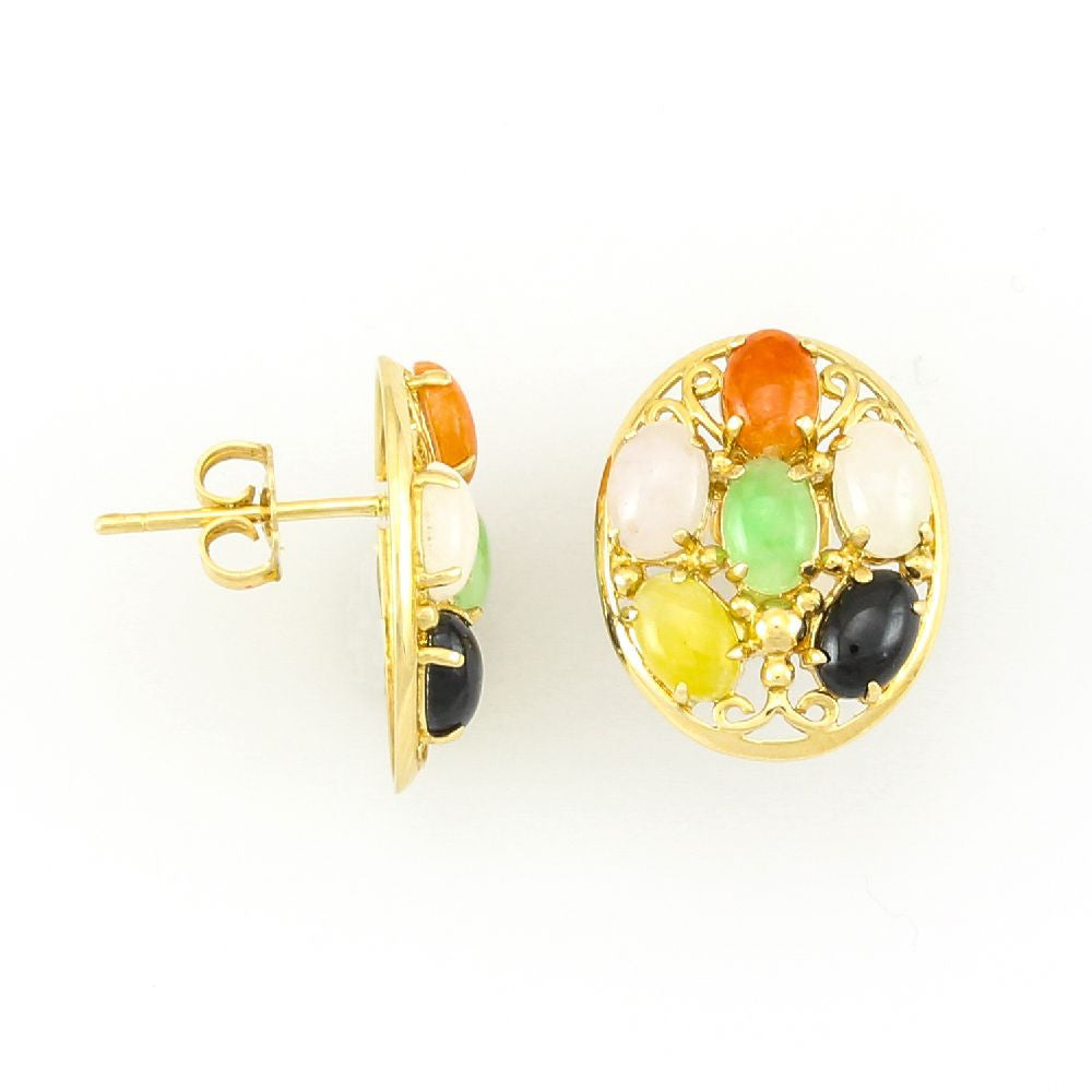 14k Yellow Gold Multi Color Oval Jade in Earrings
