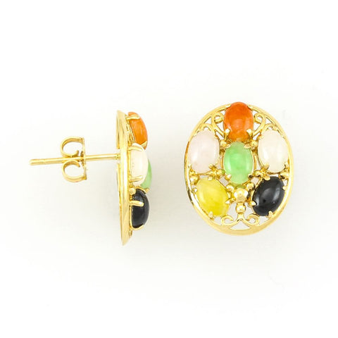 14kt Yellow Gold Multi Color Oval Jade in Earrings